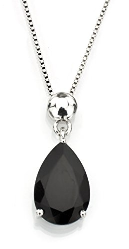 Sterling Silver 925 Pear Shape Black Onyx Pendant Necklace, (Black Onyx Pear Shape)