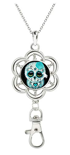 - COW GO GO Image Custom Women Office Lanyard ID Badges Holder Necklace Keychain with Glass Snap Charms Clip (Sugar Skull Owl Stars)