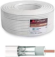Opticum Cable coaxial (90 db-100 Metros, 2 Capas, RG6, de Acero/Cobre, 6,8 mm) Blanco