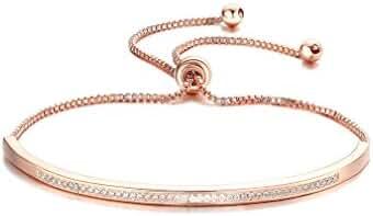 Bella Lotus Half Bar CZ Paved 18k Rose Gold Plated Adjustable Chain Bracelets, 2 Colors