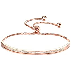 SHINCO Bella Lotus Half Bar CZ Paved 18k Rose Gold Plated Adjustable Chain Bracelets Women Fashion Jewelry