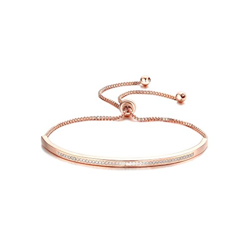 SHINCO Bella Lotus Half Bar CZ Paved 18k Rose Gold Plated Adjustable Chain Bracelets Women Fashion Jewelry, Gifts for Graduation