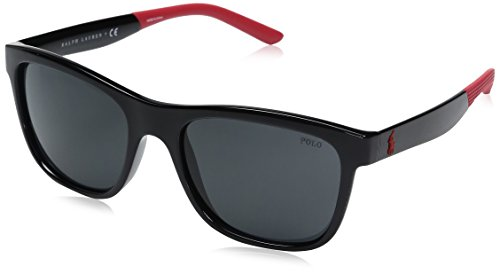 Polo Ralph Lauren Men's Injected Man Wayfarer Sunglasses, Shiny Black, 55 mm (Ralph Sunglasses Lauren)