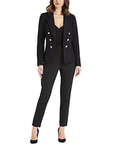 Lipsy Womens Military Tailored Button Blazer Black US 14 (UK 18)