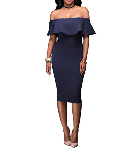 Blue Stretch Dress - Women's Off Shoulder Ruffles Back Split Slim Stretch Cocktail Party Bodycon Midi Dress XXL Navy Blue