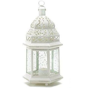 Vine Patterned Glass Garden Lantern - 15 inches