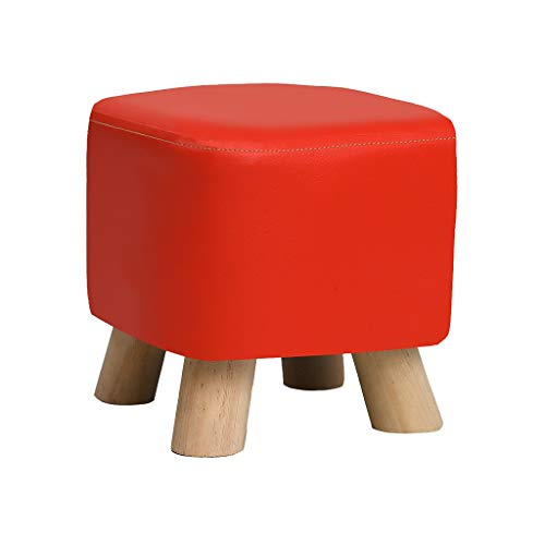 JJXZM Sofa Stool, Wood Support Upholstered Footstool Leather 4 Legs Ottoman Living Room Children Bench Milking Stool (Color : Red)