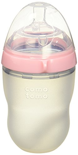 Comotomo Natural Feel Bundle - 2 Items:  8 Ounce Baby Bottle Pink, Extra Pack Medium Flow Nipples