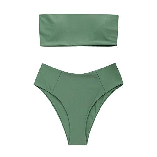 BEAUTYVAN Swimwear Se Charming Bikini Set Set Strapless Swimsuit High Leg Bathing Suit Beachwear (S, Green) ()