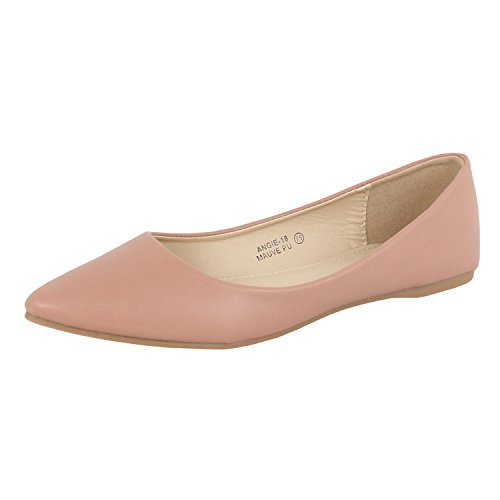 Bella marie Women's Classic Pointy Toe Ballet Flat Shoes (8 B(M) US,