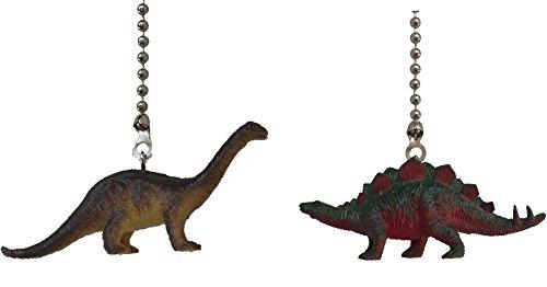 Dinosaur Ceiling Fan Pull Dino Themed Children Bedroom Decor (SET of TWO, BRONTOSAURUS Apatosaurus & STEGOSAURUS)