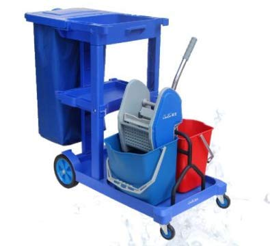 Janitorial Cart with Cover and Mop Wringer Trolley by Farag Janitorial
