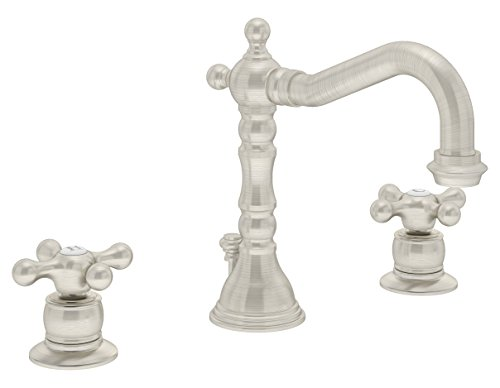 Kingston Brass FS1978APL 8 inch Two Handle Widespread Lavatory Faucet with L Spout Ceramic Cartridge Lever Handle with 50//50 Pop Up Satin Nickel