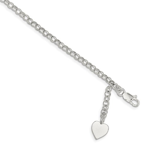925 Sterling Silver Heart Charm Rolo Bracelet 7.5 Inch W/charm Fine Jewelry For Women Gift Set ()