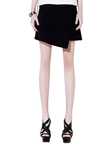 Mini Skirt Bottom (Haoduoyi Women's Asymmetrical A-Line Black Zip Up High Waist Bodycon Mini Skirt(M,Black))