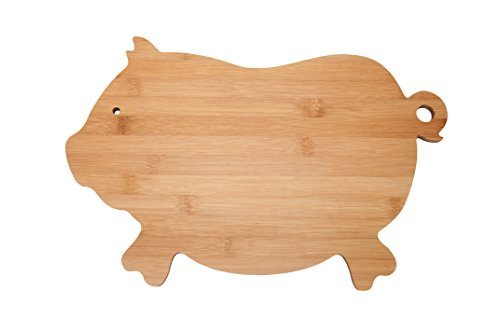All Natural Bamboo Cutting Board Pig Bamboo Kitchen Country Decor Bar Serving Board Cheese Plate Wood Serving Board For Meat Vegetables Fruit Farmhouse 14.5 x 10 Inches -