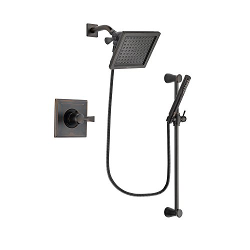Delta Dryden Venetian Bronze Finish Shower Faucet System Package with 6.5-inch Square Rain Showerhead and Modern Hand Shower with Slide Bar Includes Rough-in Valve DSP3154V ()