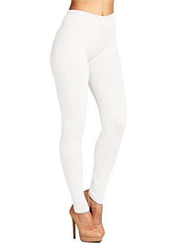 High White Vinyl - Leggings Mania Women's Solid Color Full Length High Waist Leggings White