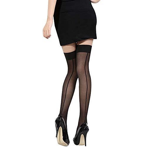 (Women's Ultra Thin Back Seam Stockings Control Top Cuban Heel Thigh High Stockings Sexy Socks Lingerie Accessories (Black+Black Line))