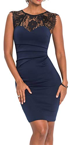 Arctic Cubic Sleeveless Crewneck Floral Lace Spliced Shirred Ruched Mini Bodycon Dress Blue M