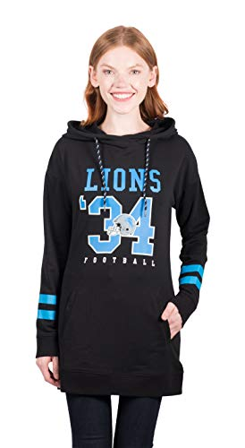 - ICER Brands Adult Women Tunic Hoodie Pullover Sweatshirt Terry, Team Color, Black, Large