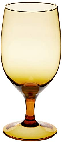 D&V Glass Gala Collection Goblet/Beverage Glass 15 Ounce, Amber, Set of 12