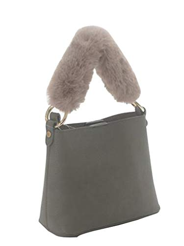 - Un Billion Isabella Vegan Small Bag With Fur Handle, Grey, One-Size