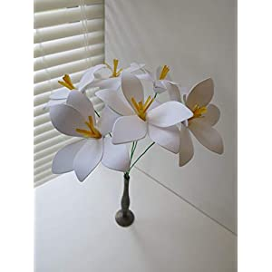 6 Stemmed Paper Flower Easter Lilies, Spring Floral Bouquet, White Lily, Sculpted Petals, 4 Inches Across 9