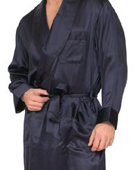 Intimo Men's Classic Silk Robe, Navy, X-Large
