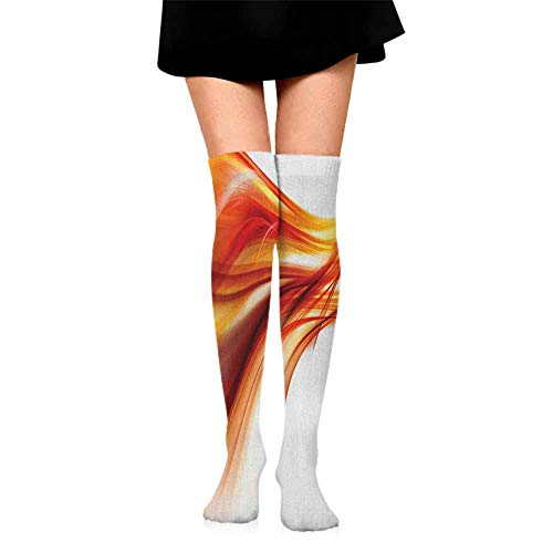 lot Happy Colorful Socks Men Abstract,Modern Contemporary Abstract Smooth Lines Blurred Smock Art Flowing Rays Print, Orange Red,socks with grips for women and wings
