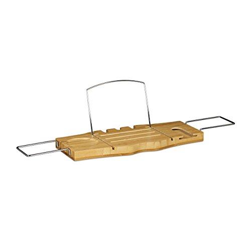 Relaxdays Badewannenablage mit Buchstütze aus Edelstahl ausziehbares Badewannenbrett Bambus mit Ablage für Weinglas als Badewannentablett und Badewannenauflage aus Holz Badewannenbrücke, natur