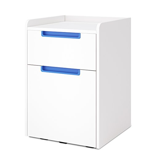DEVAISE 2-Drawer Wood Vertical File Cabinet/Letter Size (White & Blue) by DEVAISE