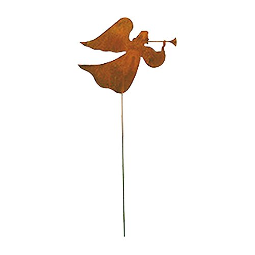 (Village Wrought Iron Outdoor Pathway Decorative Angel Rusted Garden Stake)