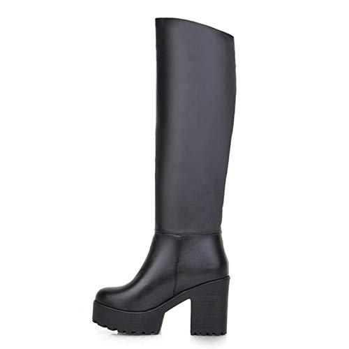 HAOLIEQUAN Frauen Frauen Frauen Natürliche Overknee Stiefel Winter Stiefel Platz Ferse Reißverschluss Frauen Stiefel Schuhe Plus Größe 31-45 135fff