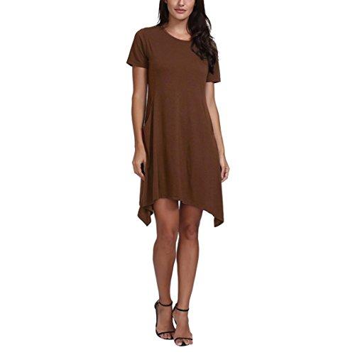 Mini Dresses for Womens, FORUU Ladies Solid Short Sleeve Lrregular Hem Pocket – DiZiSports Store