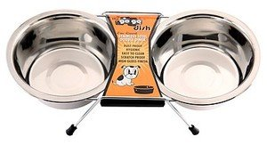 GoGo Pet Products Stainless Steel Double Diner Dog Bowl, 1-Pint