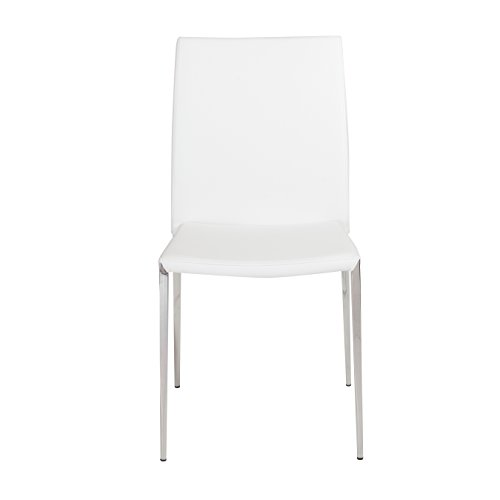 - Euro Style Diana Soft Leatherette Stacking Side Chair with Stainless Steel Frame, White, Set of 4