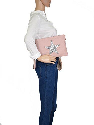 de Bolso Genuino Cuero CRAZYCHIC Noche Rosa de Rosa Cartera Mujer Nude de Bolso Mensajero Moda Nude Fiesta Lentejuelas Monedero Hombro Embrague de Estrellas Brillante Patrón Mano Bolso de Bandolera wrXOx7qYX