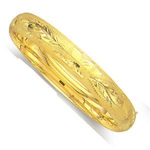 Or jaune 14carats-Bracelet Jonc Motif fleur en 10mm-Longueur Options: 1820