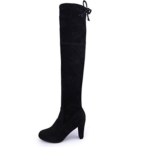 AMA(TM) Women Stretch Faux Slim High Boots Over Knee Boots High Heels Shoes Black