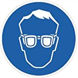 Aufkleber Augenschutz benutzen gemäß ASR A1.3/ BGV A8, Folie selbstklebend 10cm Ø (Schutzbrille, Schutzausrüstung) praxisbewährt, wetterfest