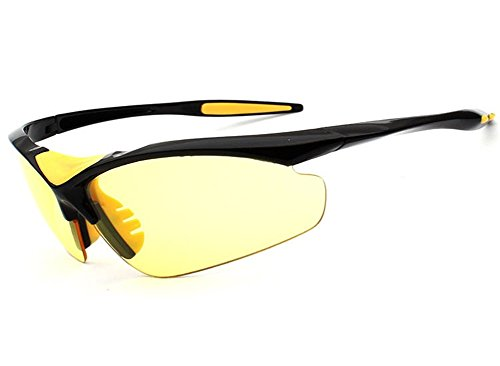 Wonzone Outdoor Sports Athlete's Eyewear UV Protection Night Vision Sunglasses Riding Glasses Eye Gear Protecor for Cycling Fishing Golf (Yellow/Black Night ()