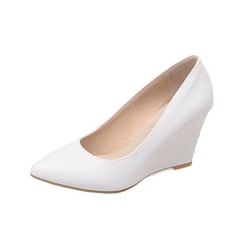 Damen Niedriger Absatz Weiches Material Rein Ziehen auf Spitz Zehe Pumps Schuhe, Pink, 35 VogueZone009