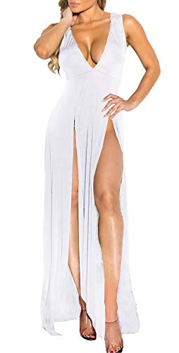 Womens Bandage Side Split V Neck Sleeveless Bodycon Clubwear Maxi Vest Dress White S -