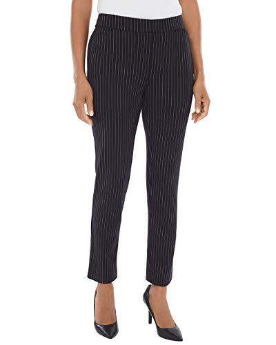 Chico's Women's Pinstriped Ponte Tapered Ankle Pants Size 6 S (0.5 REG) Black/Gray ()