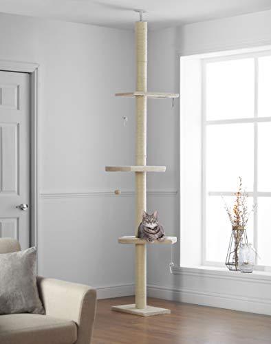 Kratzbaum Deckenhoch XL 215cm – 288cm, Kletterbaum mit Reichweite vom Boden bis zur Decke, Kletterbaum Höhenverstellbar…