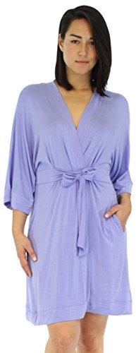 Pajama Heaven Women's Sleepwear Bamboo Jersey Wrap Robe with Pockets