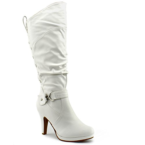 Knee Moda Top White Lace High Womens Slouched Page Round High Up Premier Toe Heel Boots 65 gqICIrZWd