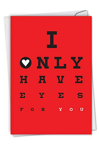 Eyes for You: Hilarious Valentine's Day Greeting Card Spelling out a love message via an eye chart, with Envelope. C6769VDG