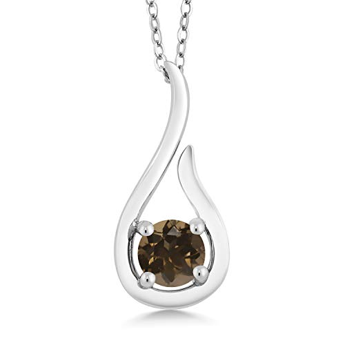 Gem Stone King 0.46 Ct Round Brown Smoky Quartz 925 Sterling Silver Raindrop Pendant With Chain ()